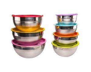 لگن استیل درب رنگی YYI Salad Bowl